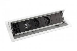 A-VERSANET 2x230V, 2x RJ45, 1xUSB Power, kabel 3m, bílá
