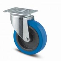 TENTE Kolečko otočné 3470 modrý gumový běhoun, průměr 100 mm, bez brzdy