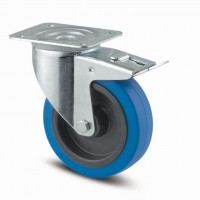 TENTE Kolečko otočné 3477 modrý gumový běhoun, průměr 100 mm, s brzdou