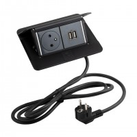 LEGRAND Pop-up v2, 1 x elektrická zásuvka 230 V, 2 x USB Power, černá mat
