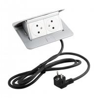 LEGRAND Pop-up v2, 2 x elektrická zásuvka 230 V, hliník
