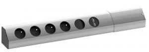 BACHMANN Casia 923.012, 4x230 vypínač + usb aluminium