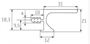 Narážecí úchytový profil-UKW5 3000mm imitace nerezi (Juvio)