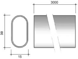STRONG Tyč šatní oválná 30/15/3000mm chrom