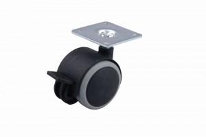 Kolečko pogumované s brzdou 40 mm černé