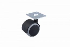 Kolečko pogumované s plotničkou 40 mm černé