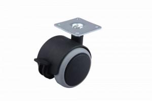 Kolečko pogumované s brzdou 50 mm černé