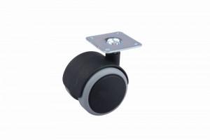 Kolečko pogumované s plotničkou 50 mm černé